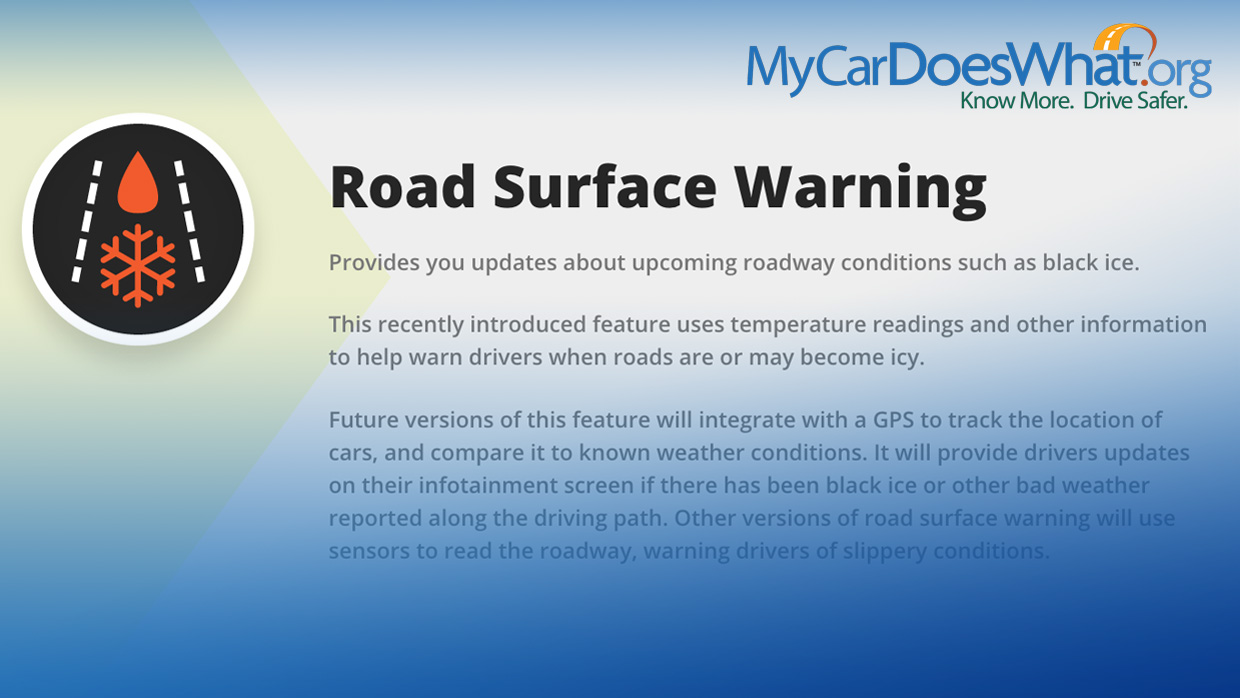Road Surface Warning System My Car Does What